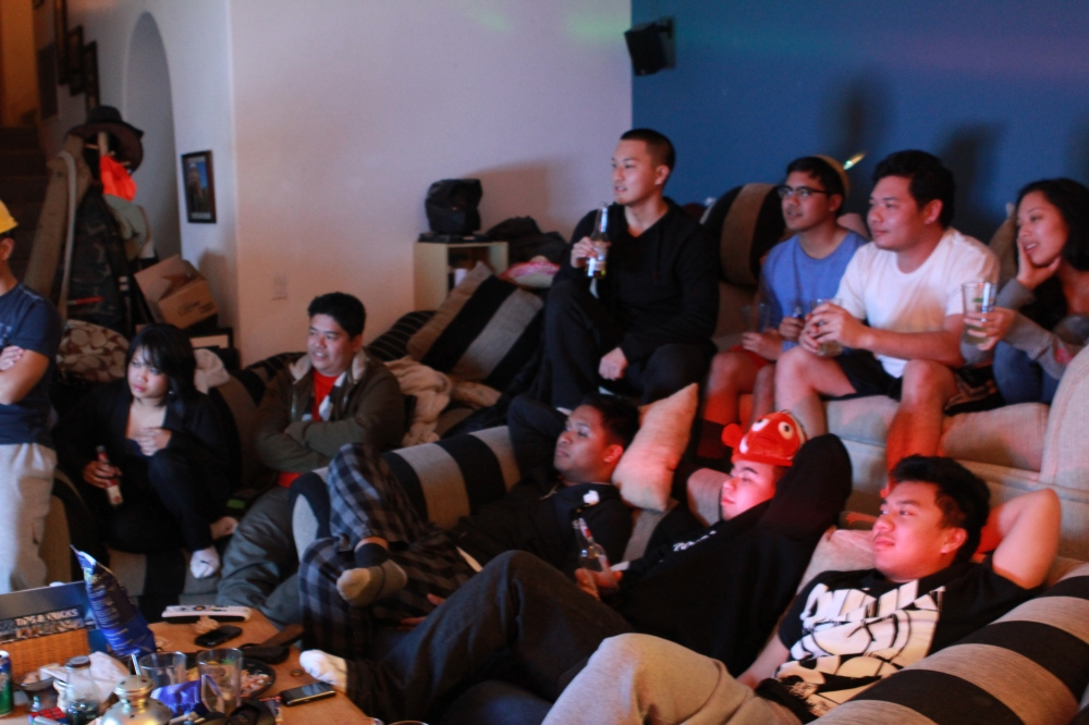 Most of the group, post-wrap relaxation.