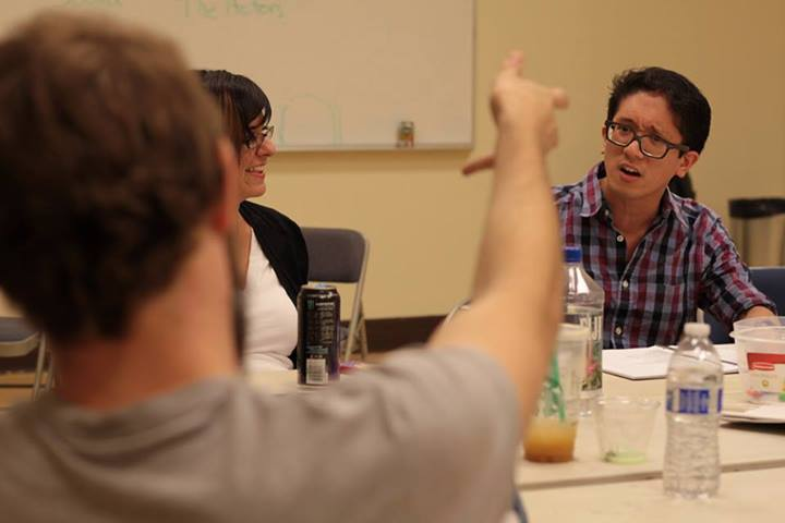 Table read. Pictured, Jonathan Amores as Eddie.