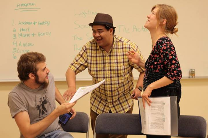 Cast members, Max Tachis (Left) and Hannah Larson (Right) share personal experiences with Director, Jeffrey Lo.